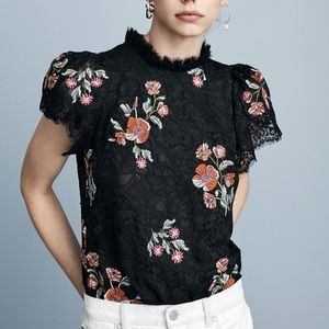 Rebecca Taylor Floral Embroidered Lace Blouse